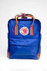 Рюкзак  Fjallraven Kanken Classic Rainbow 16л  Топ качество  ярко-синий с радужными ручками