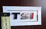 Шильдик надпись TSI хром+красный на крышку багажника, фото 3