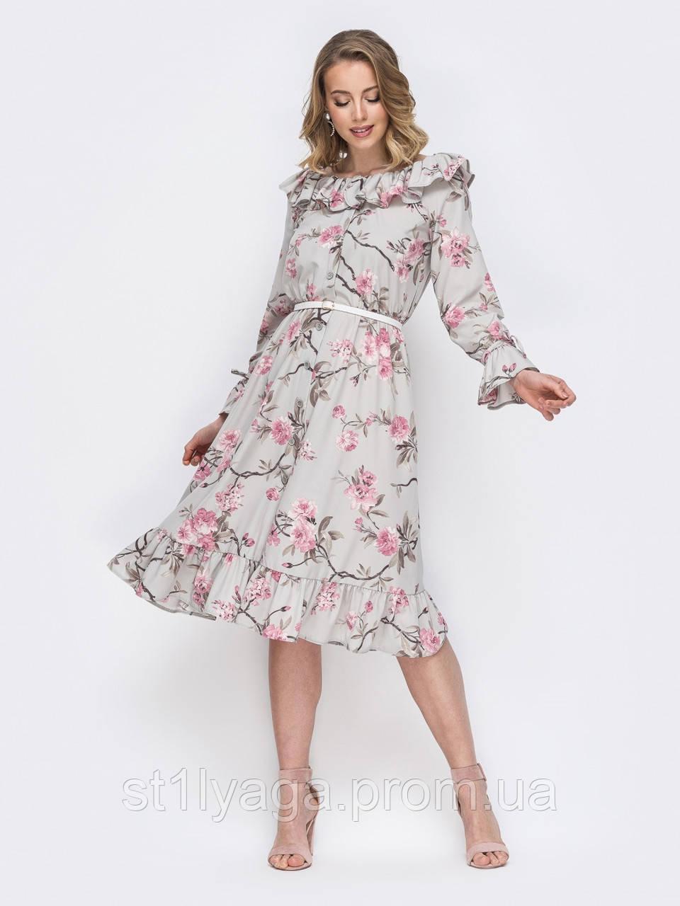 Платье с оборками в нежном цветочном принте