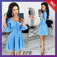 Женское платье в горошек стрейч-джинс бежевый черный темно-синий голубой красный С-М Л-ХЛ