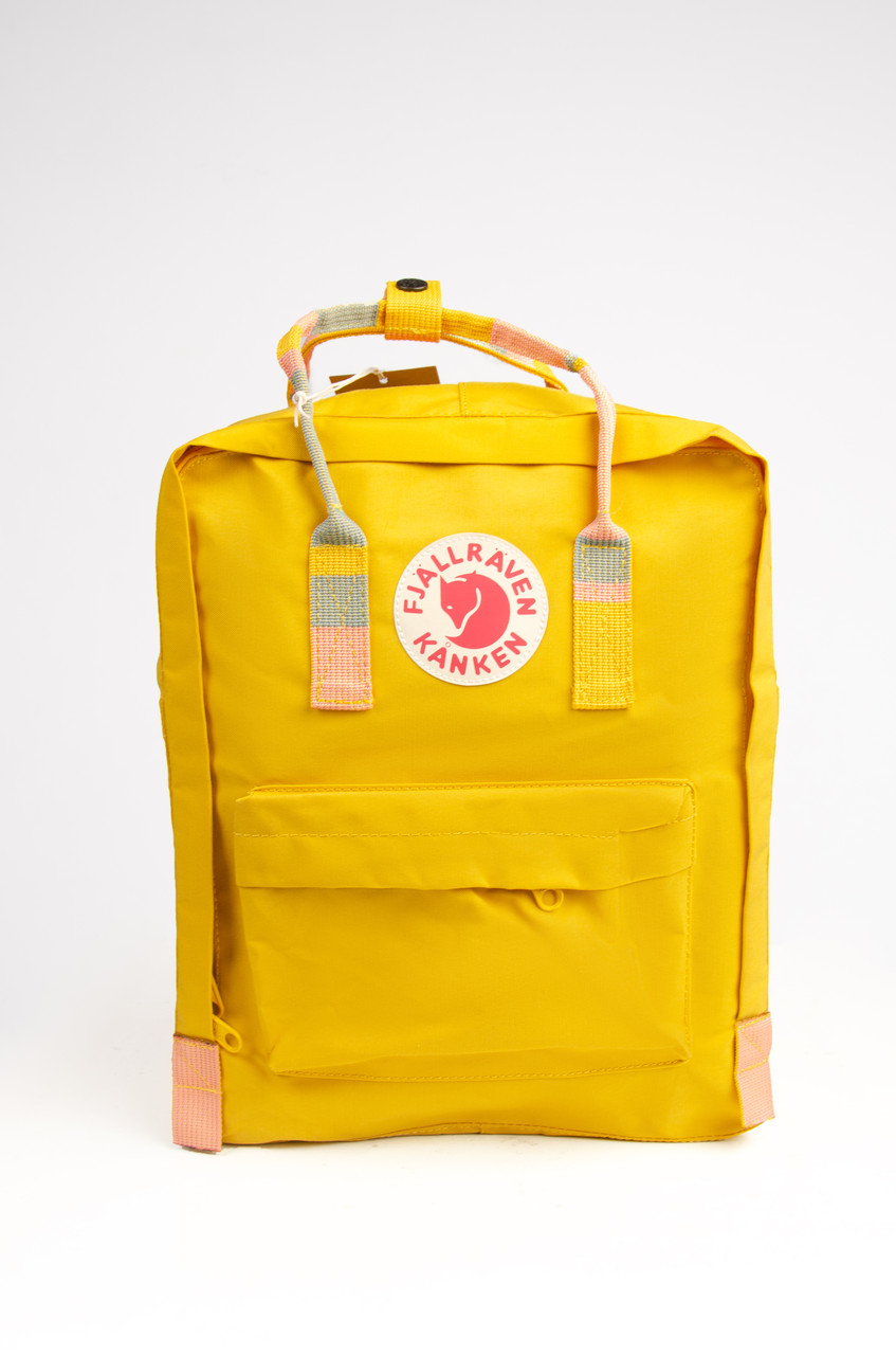 Рюкзак  Fjallraven Kanken Classic Rainbow 16л  Топ качество желтый с полосатыми ручками