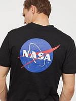 Черная футболка в стиле nasa two sided logo   наса лого