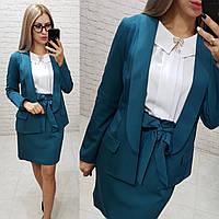 Стильный пиджак женский удлиненный, цвет аквамарин, арт 189