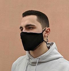 Защитная маска Черная, многоразовая, на завязках