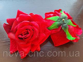 Роза открытая, тканевая красный 12 см 15 шт в упаковке