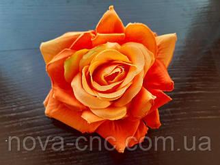Роза открытая, тканевая оранжевый 12 см 15 шт в упаковке