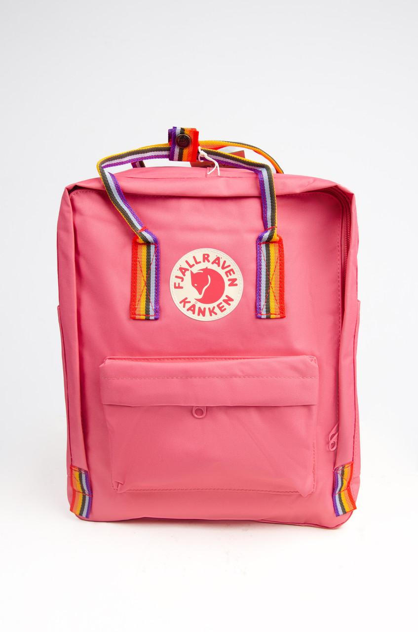 Рюкзак  Fjallraven Kanken Classic Rainbow 16л  Топ качество  красный с радужными ручками