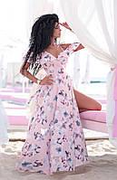 Длинное летнее светлое платье сарафан на бретелях на запах (S/M, M/L, L/XL)