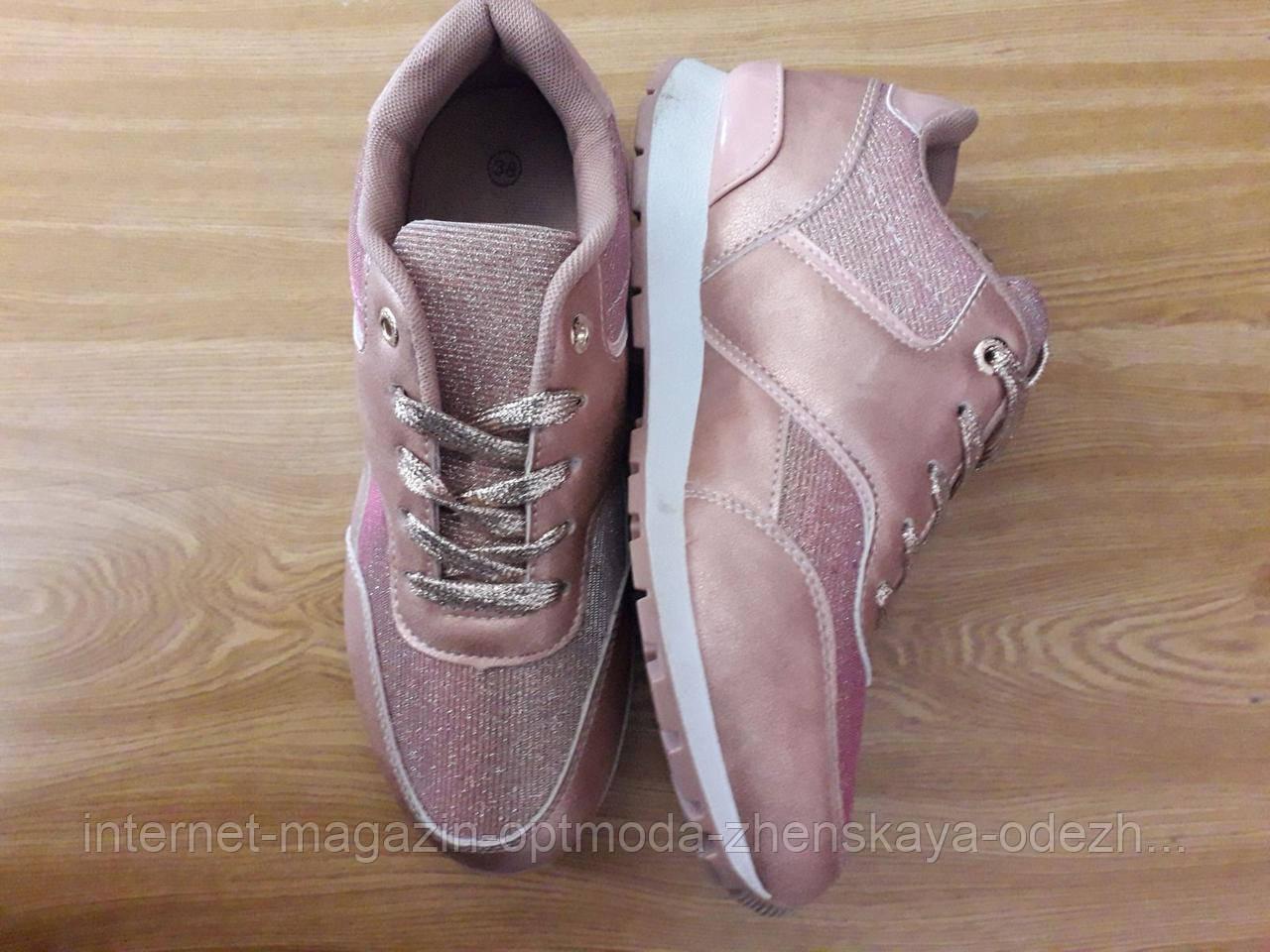 Женские кроссовки с блестками, размеры: 37,   38,   39, маломерят на один размер, верх эко-кожа+текстиль
