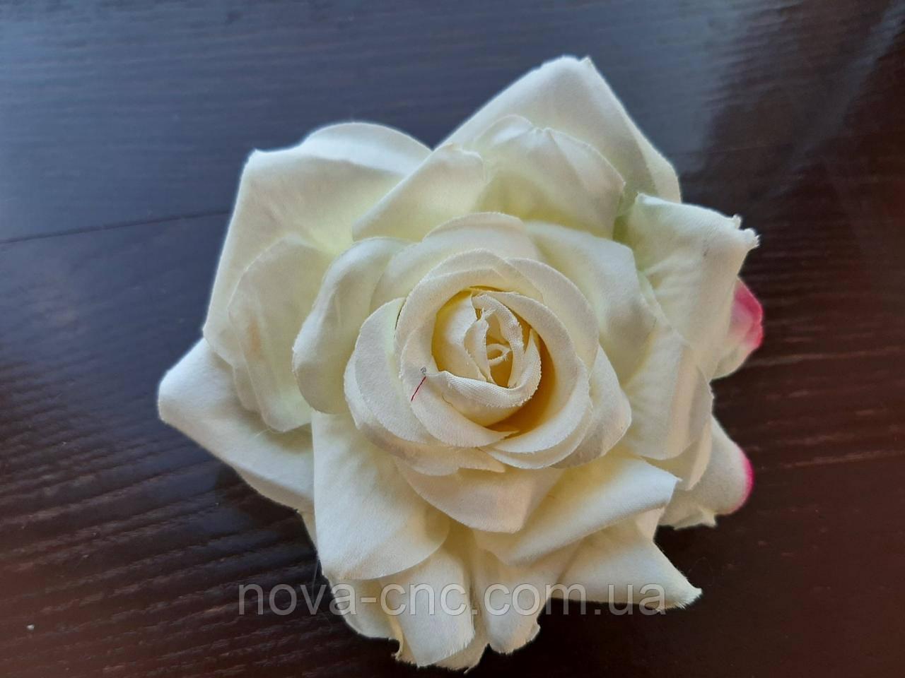 Роза відкрита, тканинна біло-рожева 12 см 15 шт в упаковці