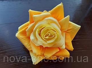 Роза открытая, тканевая желтый 12 см 15 шт в упаковке
