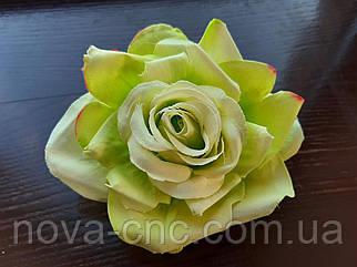 Роза открытая, тканевая зеленый 12 см 15 шт в упаковке