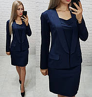 Стильный пиджак женский удлиненный, цвет темно-синий, арт 189