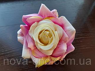 Роза открытая, тканевая сиреневый 12 см 15 шт в упаковке