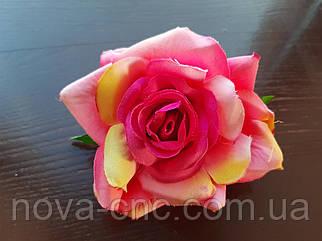 Роза открытая, тканевая ярко розовый 12 см 15 шт в упаковке