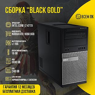 Игровой компьютер Сборка BLACK GOLD в корпусе Б/У (I7-4770 / GTX 1060 6GB / 16GB ОЗУ / HDD 1000GB)