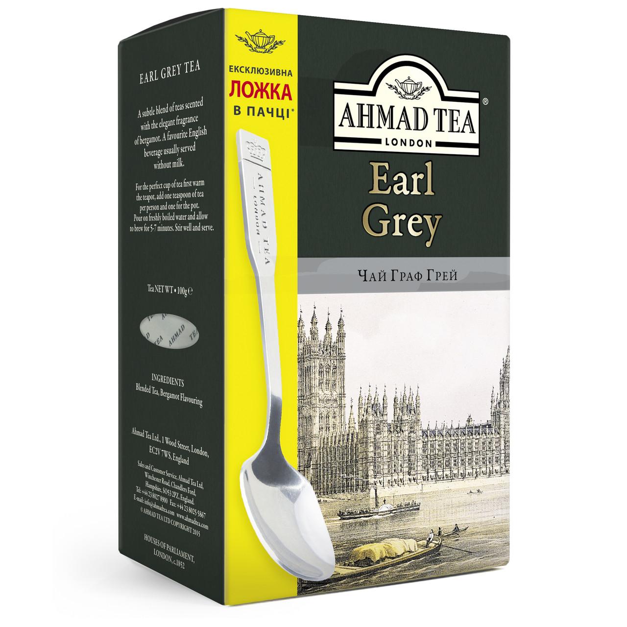 Ахмад чай с бергамотом Граф Грей с ложкой в пачке чёрный листовой 100 грамм