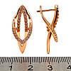 Серьги Xuping из медицинского золота, белые фианиты, позолота 18К, 23813       (1), фото 2