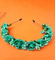 Обруч для волос, с цветами, метал., 0,7 см