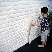 3D панель самоклеящаяся Декоративна 3D панель ПВХ 1 шт, білий цегла (7 мм)