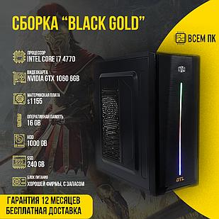 Игровой компьютер Сборка BLACK GOLD в корпусе GTL LED (I7-4770 / GTX 1060 6GB / 16GB ОЗУ / HDD 1000GB)