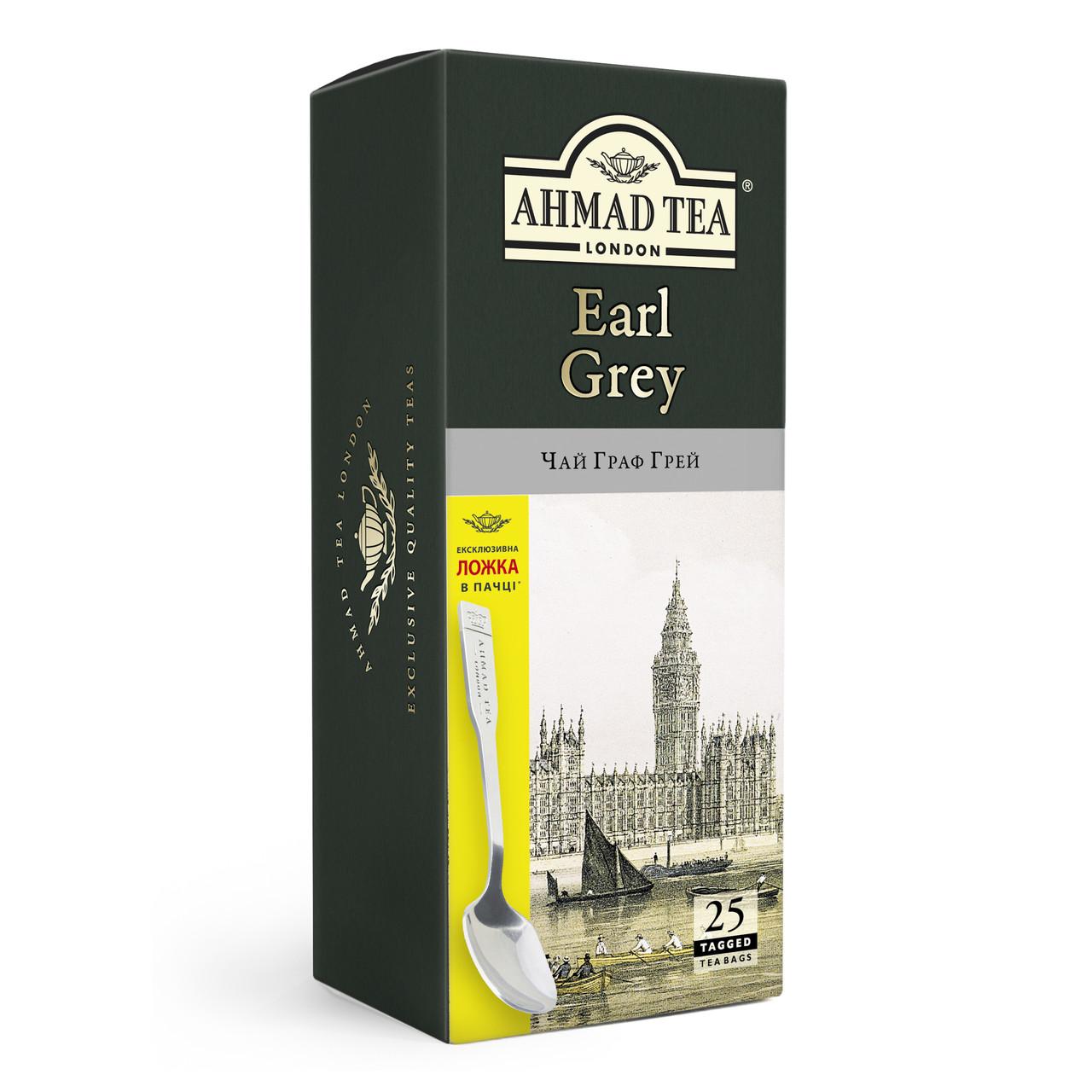 Чай с ложкой Ахмад с бергамотом в пакетиках Граф Грей 25 х 2 г