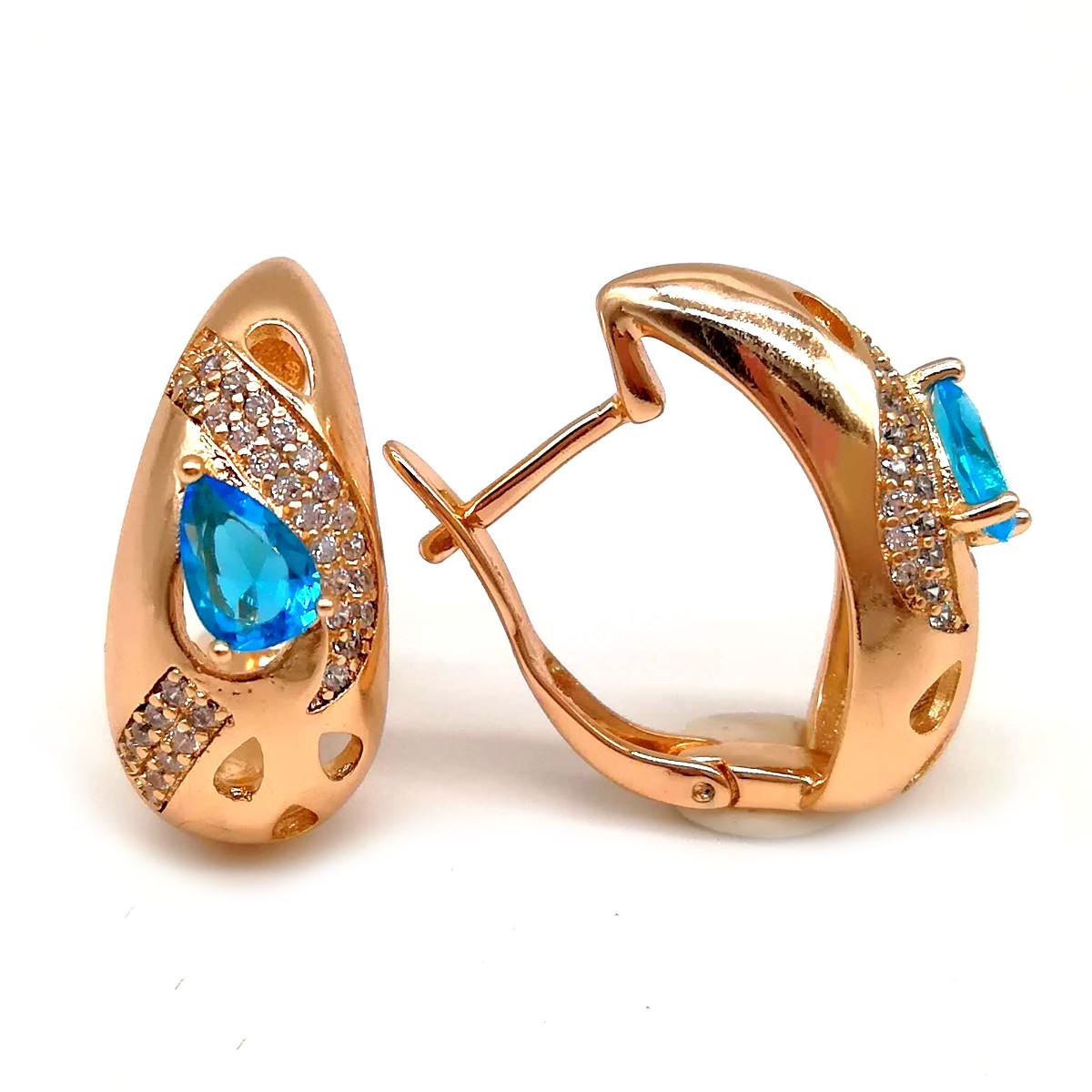 Серьги Xuping из медицинского золота, голубые фианиты, позолота 18К, 23659       (1)