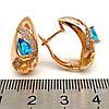Серьги Xuping из медицинского золота, голубые фианиты, позолота 18К, 23659       (1), фото 3