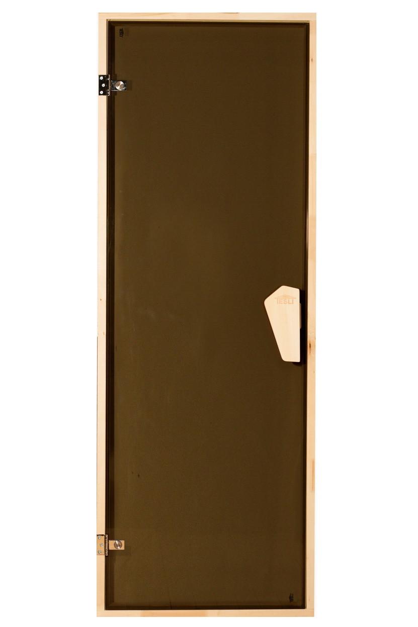 Универсальная стеклянная дверь липа Tesli 1800х700 мм бронзовая прозрачная для бани и сауны