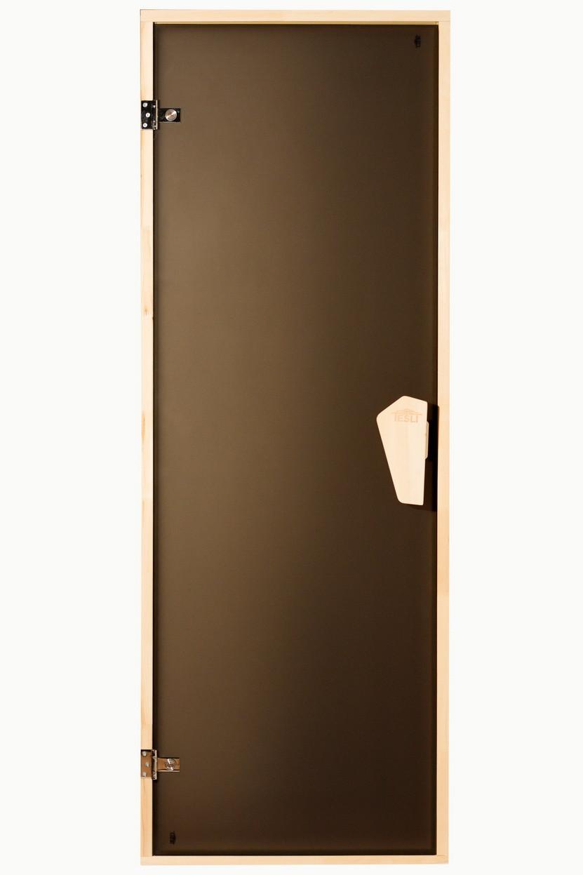 Универсальная стеклянная дверь липа Tesli Sateen 1900х800 мм бронзовая матовая для бани и сауны