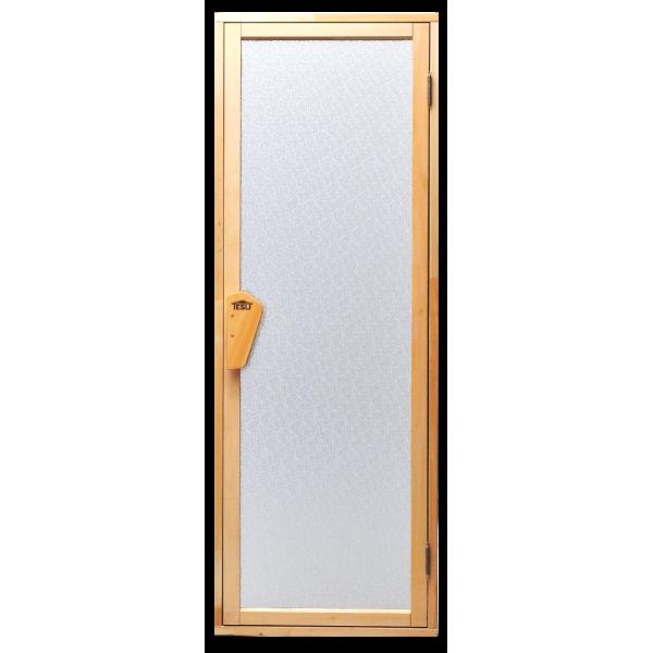 Универсальная стеклянная дверь липа Tesli UNO Diamant 1900х700 мм белая матовая для бани и сауны