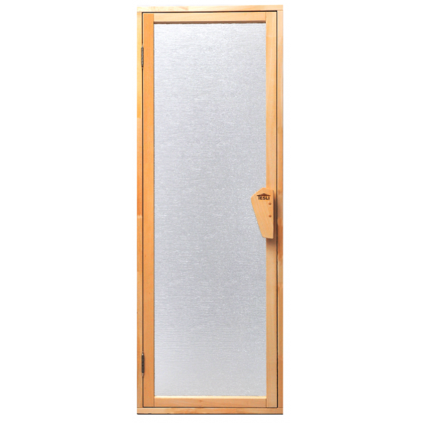 Универсальная стеклянная дверь липа Tesli UNO Silvit 1900х700 мм белая матовая для бани и сауны