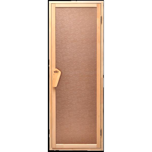 Универсальная стеклянная дверь липа Tesli UNO Delta 1900х700 мм бронзовая матовая для бани и сауны