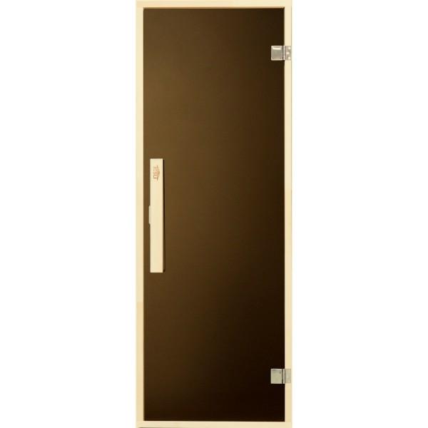 Универсальная стеклянная дверь липа Tesli Siesta 1900х700 мм бронзовая прозрачная для бани и сауны