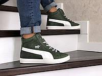 Мужские зимние кроссовки на меху Puma Suede, кожа, зеленые с белым.*** 40