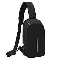 Антивор сумка через плечо черная