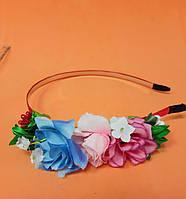 Обруч для волос, с цветами, метал., 0,5 см