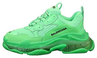 Женские кроссовки Balenciaga Triple S Clore 'Green' (Premium-class) зеленые