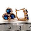 Серьги Xuping из медицинского золота, синие фианиты, позолота 18К, 23460       (1), фото 2