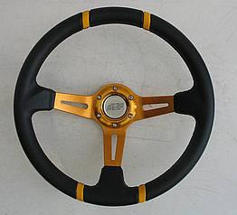 Спортивный руль ASP желтый виниловый для авто