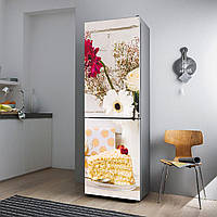 """Виниловая наклейка на холодильник.""""Торт и цветы"""", фото 1"""