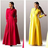 Женское яркое длинное Платье с поясом разные цвета