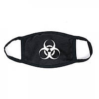 Захисна маска для особи, чорний колір, багаторазова, великий принт білого кольору Virus-Cobra
