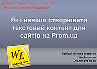 Трансляция онлайн вебминара 27 марта  - Как и зачем создавать текстовый контент для сайтов на Проме