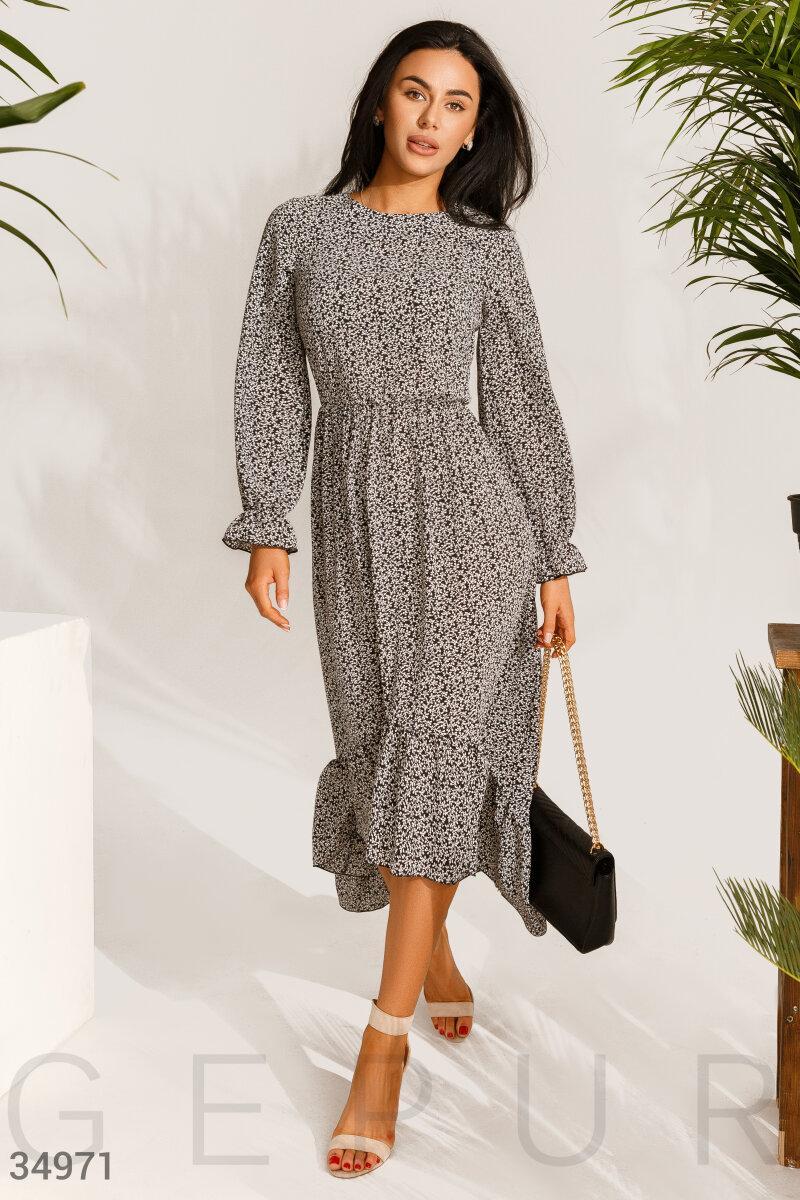 Довге жіноче плаття з асиметрією з легкої шифонової тканини чорне