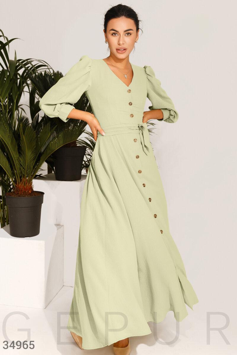 Длинное платье-макси с v-образным вырезом из шифоновой ткани оливковое