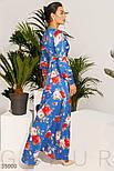 Летнее шелковое платье-макси в яркий цветочный принт синее, фото 3