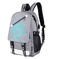 Светящийся городской рюкзак Senkey&Style школьный портфель с мальчиком серый Код 10-7162