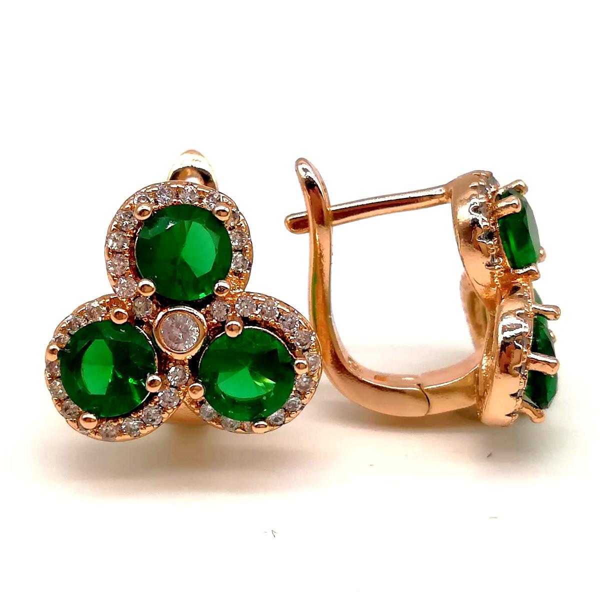 Серьги Xuping из медицинского золота, зеленые фианиты, позолота 18К, 23467       (1)