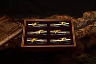 """Подарочный набор для охотника с рюмками  """"Трофейные лоси"""", в деревянной коробочке"""
